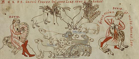 David als Hirte und Davids Löwenkampf. Miniatur aus dem Psalmenkommentar des Petrus Lombardus. Bamberg, Kloster Michelsberg (?), um 1180 | SBB, Msc.Bibl.59, Bl. 1v