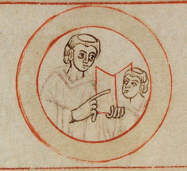 Monk and novice in one of the medallions composing the Bamberger Schreiberbild | SBB, Msc.Patr.5, fol. 1v