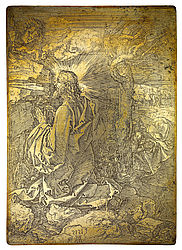 Christ on the Mount of Olives. Only suriving etching plate by Albrecht Dürer, 1515 | SBB, Kupferplatte 25