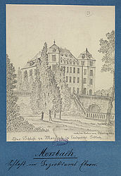 Merzbach Castle in Lower Franconia. Pencil drawing by Adam Friedrich Thomas Ostertag, 1839 | SBB, MvO A III 184