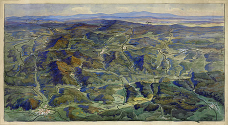 Panorama postcard showing the Fichtel Mountanis and northern Upper Palatinate. Watercolour painting with opaque colours by J. Ruep (?), ca. 1920 | SBB, VIII A 101