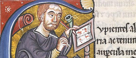 Historisierte Initiale mit Petrus Lombardus am Schreibpult. Nordfrankreich, vor 1159 | SBB, Msc.Patr.120, Bl. 3r