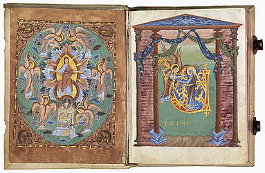 Miniature depicting the prophet Isaiah's vision of God and decorative initial page showing the cleansing of the prophet. Reichenau, ca. 1000 | SBB, Msc.Bibl.76, fols. 10v-11r