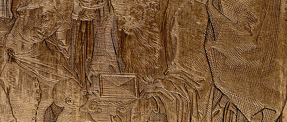 Anbetung der heiligen drei Könige. Kupferstich von Ludwig Krug, 1516 | SBB, Kupferplatte 23