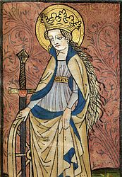 Colourised woodcut depicting St Catherine of Alexandria. Nuremberg, 1451 | SBB, Msc.Hist.154, fol. 1v