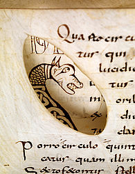 An ink-drawn initial with a dragon's head in an Isidore manuscript, seen through the following leaf. Eastern France, 1st third of the 9th century | SBB, Msc.Nat.1, fols. 25v, 26v