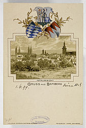 Picture postcard with a panorama of Bamberg. Bamberg, Herr, end of the 19th century. | SBB, MvO A VI 70