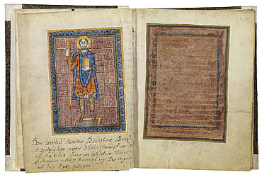 Miniature of Henry II, Duke of Bavaria, also called the Wrangler, and a page with decorative writing in the rule book of Niedermünster Abbey. Regensburg, ca. 990 | SBB, Msc.Lit.142, fols. 4v-5r