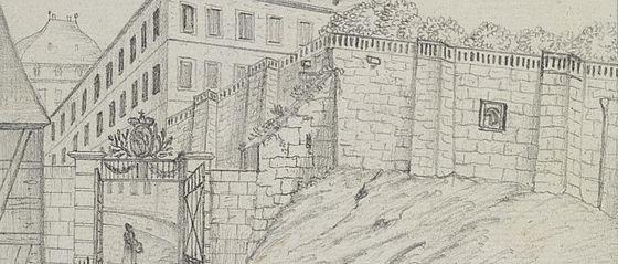 Blick von Norden durch das Eiserne Tor auf die Neue Residenz in Bamberg. Bleistiftzeichnung von Adam Friedrich Thomas Ostertag, 1839 | SBB, MvO A III 30