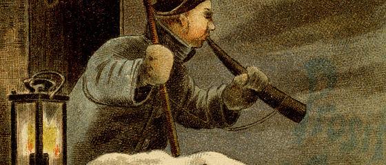 Nachtwächter stößt zum Jahreswechsel in sein Horn. Grußkarte aus der Bamberger Silvesternacht. Tübingen, 1899 | SBB, MvO A VI 1202