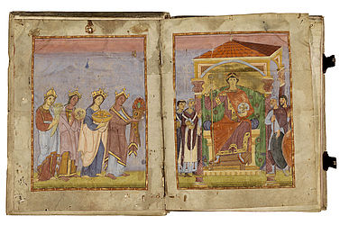 Two-page image of the sovereign: four women, personifications of the provinces, approach the youthful ruler, surrounded by dignitaries, with their gifts. Reichenau or Trier, late 10th century | SBB, Msc.Class.79, fols. 1v-1ar