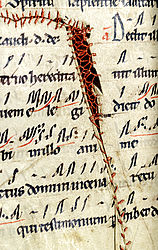 A leaf sewn together, found in a liturgical manuscript. Bamberg, ca. 1200 | SBB, Msc.Lit.22, fol. 87v