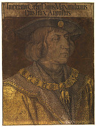 Emperor Maximilian I. Woodcut with gold printed beneath by Albrecht Dürer, 1519 | SBB, I G 55