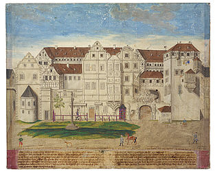 The Old Court of Bamberg. Pen-and-ink drawing by Johann Georg Kaufmann. Bamberg, 1777 | SBB, HVG 21/113a