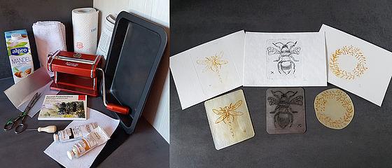 Für den Milchtütendruck benötigtes Material und drei Milchtütendrucke mit den dazugehörigen Druckplatten, gestaltet von Judit Hendel | SBB