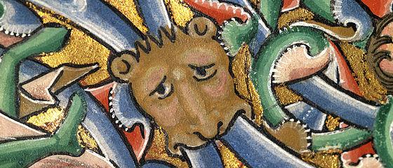 Detail der Beatus-Vir-Initialzierseite aus dem Bamberger Psalter | SBB, Msc.Bibl.48, Bl. 10r