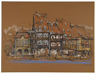 View of Little Venice. Felt pen on orange brown paper, drawn by Michael Knobel, 2015 | SBB, I T 83f/38