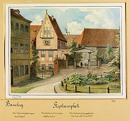 The Stephansplatz in Bamberg. Watercolour painting by Carl Meinelt, 1888 | SBB, MvO A I 106