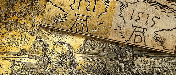 Christus am Ölberg. Detail der einzigen erhaltenen Radierplatte Albrecht Dürers samt Abzug, 1515 | SBB, Kupferplatte 25 und I C 1