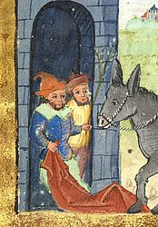 Jesus enters Jerusalem. Detail of a miniature in an Evangeliary. Bamberg, 1503 | SBB, Msc.Lit.46, fol. 1r
