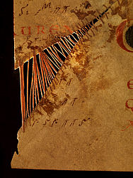 A leaf sewn together, found in a liturgical manuscript. Regensburg, ca. 1000 | SBB, Msc.Lit.6, fol. 85v