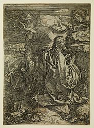 Christ on the Mount of Olives. Iron etching by Albrecht Dürer, 1515 | SBB, I C 1