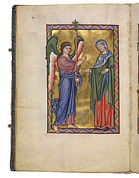 The Annunciation. Miniature in the Bamberg Psalter. Regensburg (?), 1220/30 | SBB, Msc.Bibl.48, fol. 7v