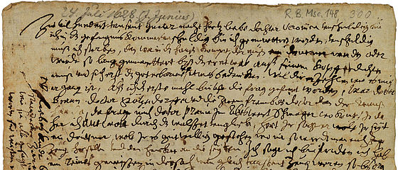 Brief des wegen Hexerei verhafteten und gefolterten Bamberger Bürgermeisters Johannes Junius aus dem Gefängnis an seine Tochter Veronica. Bamberg, 24. Juli 1628   SBB, RB.Msc.148/300, Bl. 1r