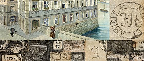 Geburtshaus und Bücherzeichen von Joseph Heller, montiert mit Dürer-Monogrammen | SBB, MvO A I 75
