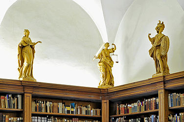 Three of the eight allegorical figures created by Michael Trautmann 1777/78: Hope (?), Justice, Bravery. They are kept in the former archive of the Prince-Bishop | SBB