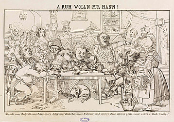 A Newspaper saleswoman is sent away from a tavern table. Caricature, Munich, 19th century | SBB, MvO C I 83