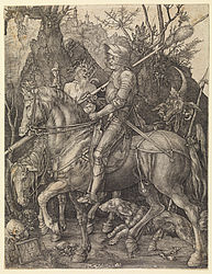 Knight, Death and the Devil. Copperplate engraving by Albrecht Dürer, 1513 | SBB, I D 32