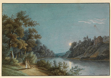 Pleasure trip to the Regnitz in the vicinity of Bamberg, with a view of the so-called Milchhäusel. Watercolour painting by T. Lamey, 1807 | SBB, MvO A I 173