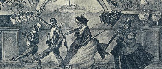 Vorwärts, mit frischem Muth ins neu' Jahrhundert 'nein! Viel Glück im neuen Jahr! Grußkarte aus der Bamberger Silvesternacht. Bamberg, 1899 | SBB, MvO A VI 1236