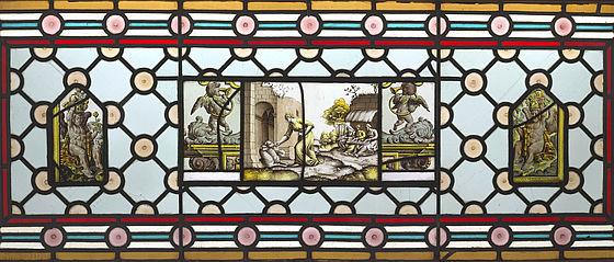 Szene aus der Erzählung von Amor und Psyche (Nürnberg, nach 1532), gerahmt von Putten mit Blasinstrumenten und Körben (spätes 16. / frühes 17. Jh.) | SBB, Glasgem.5 und Glasgem.19