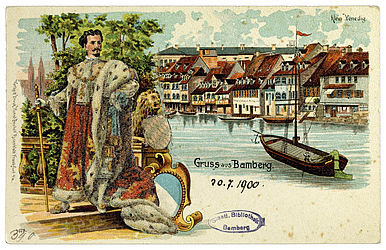 Picture postcard of Ludwig II and Little Venice. Frankfurt am Main, Rosenblatt, end of the 19th century | SBB, MvO A VI 390