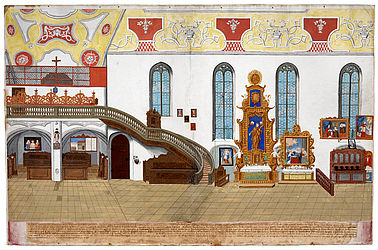 Interior of the Clarissine convent's church St Klara in Bamberg. Opaque and watercolours on paper by Johann Georg Hoffmann, 1802 | SBB, HVG 44/12