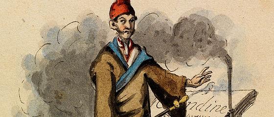 Selbstbildnis als Kapellmeister Johannes Kreisler in Haustracht. Federzeichnung mit Deckfarbenmalerei von E. T. A. Hoffmann, Berlin, 1815 | SBB, I R 65
