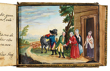 A student takes his leave from his parents and his sister. Gouache in the album of Johann Heinrich Stepf. Schweinfurt, 1777 | SBB, Mvo.Msc.61, p. 200