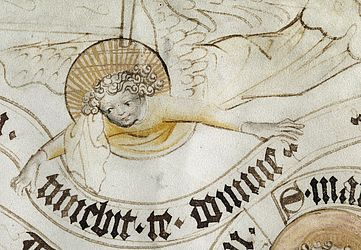 Angel carrying a scroll, drawn after the Bamberg Rational. Bamberg, ca. 1420 | SBB, Msc.Add.3001