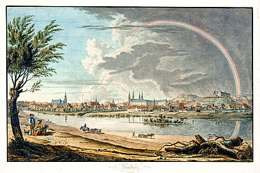 Bamberg seen from the north. Colourised etching by Friedrich Carl Rupprecht, 1817 | SBB, V B 48e