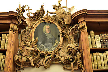 Overdoor with a portrait of Prince-Bishop Franz Konrad von Stadion und Tannhausen (1753–1757), painted by Johann Scheubel the Younger (?) | SBB