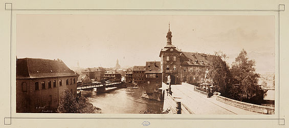 The Upper Bridge and Old Townhall in Bamberg. Photograph by Bernhard Haaf, ca. 1890 | SBB, V Bea 2