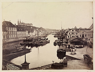 View from the Lower Bridge in the direction of the Michelsberg. Unknown photographer, ca. 1870 | SBB, V Bg 132