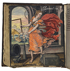Personification of geometry in the album of Hans Ludwig Pfinzing von Henfenfeld. 1580/1625 | SBB, Msc.Hist.176, fol. 78v