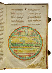 "Two-dimensional depiction of the globe in Macrobius's Commentary on Cicero's ""Somnium Scipionis"". Italy, late 10th century 
