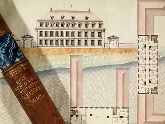Layout and outline of the General Hospital in Bamberg. Colourised drawing by J. L. Finck, 1788 | SBB, VIII C 1