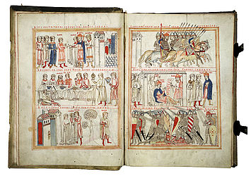 Two-page spread in the Commentary on the Psalms of Peter Lombard showing scenes from the lives of David and Saul. Bamberg (?), ca. 1180 | SBB, Msc.Bibl.59, fols. 2v-3r