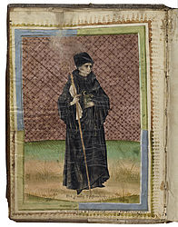 St Benedict as Abbot. Miniature in a liturgical composite manuscript. Bamberg (?), 1477 | SBB, Msc.Lit.146, endpaper