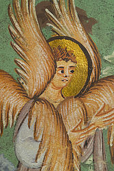 Seraph with six wings. Detail from a miniature in the Commentary on Isaiah. Reichenau, ca. 1000 | SBB, Msc.Bibl.76, fol. 10v